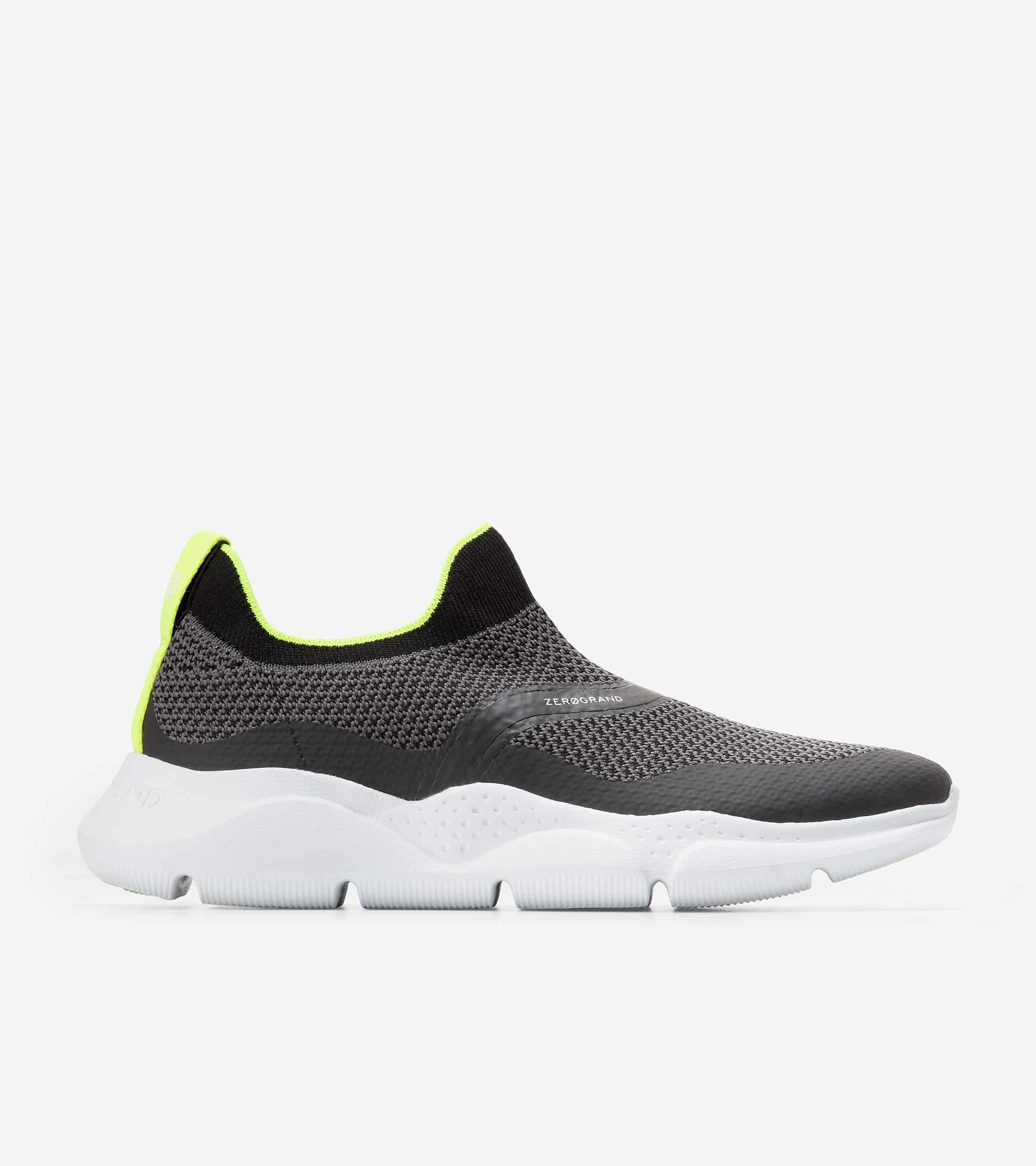 Cole Haan ZERØGRAND Radiant Slip On Sneaker Black Tpu/ Black & Periscope Knit/ Safety Yellow/ Optic White