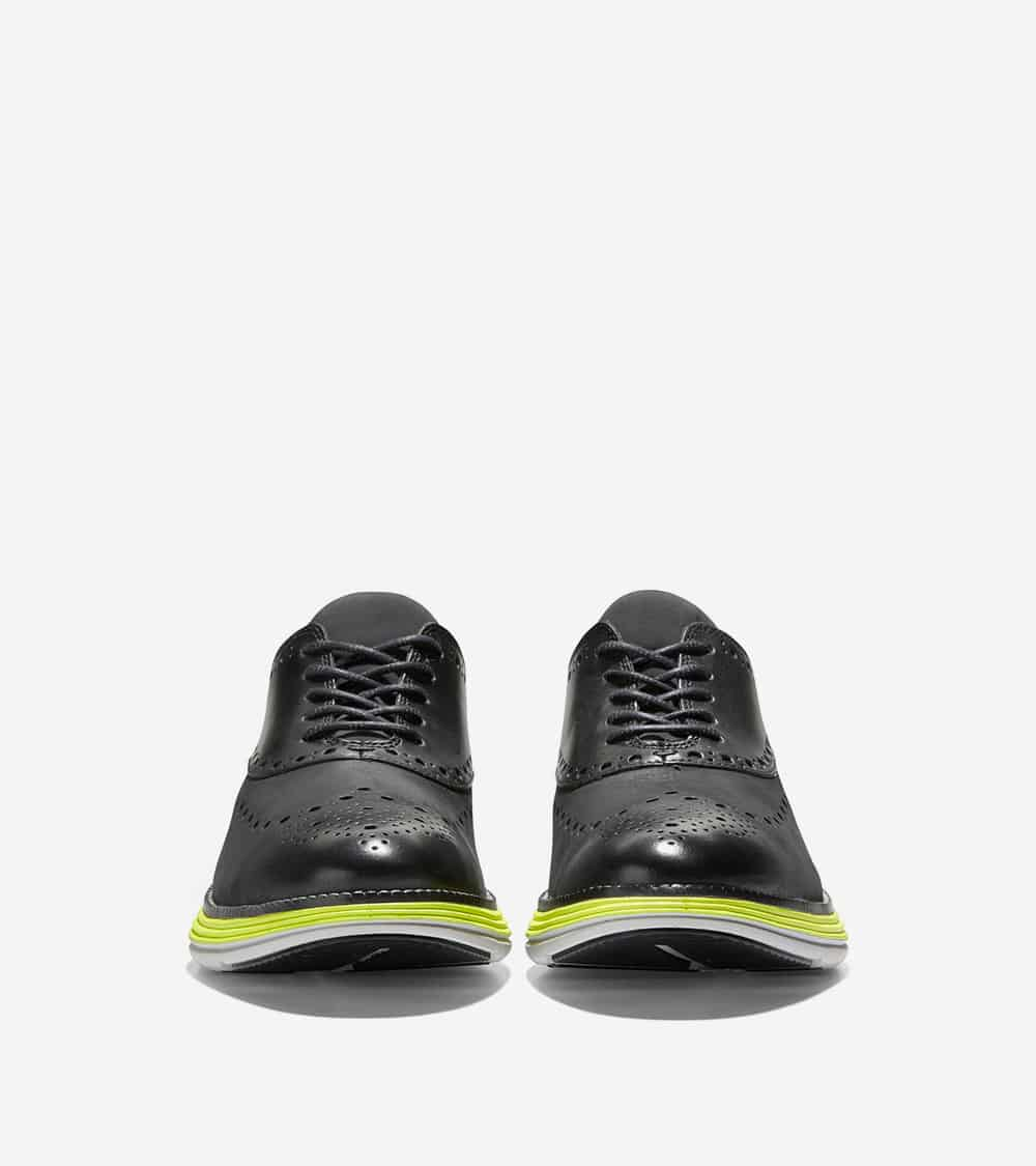 Cole Haan ØriginalGrand Ultra Wing Ox Black Nubuck/Leather/Safety Yellow-Cool Gray