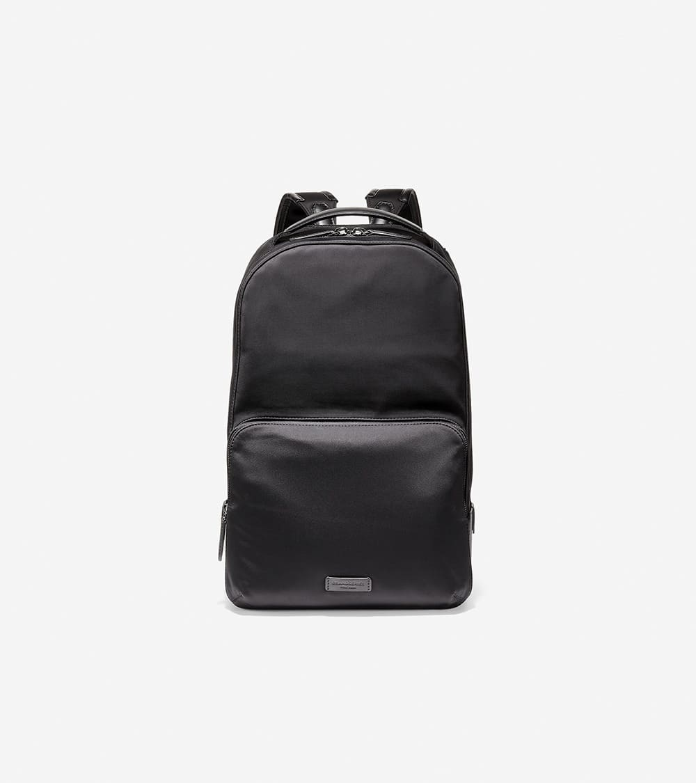 Cole Haan Nylon Leather Backpack Black