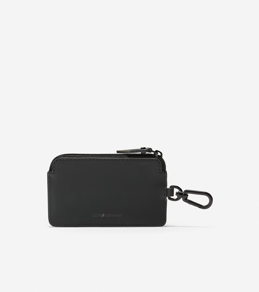 Cole Haan ZERØGRAND Zip Card Case W/Key Ring Black/Cyber