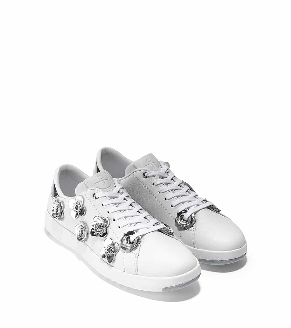 GRANDPRO TENNIS FLORAL OPTIC WHITE LEATHER/CH ARGENTO SPECCHIO LEATHER FLOWERS OPTIC WHITE
