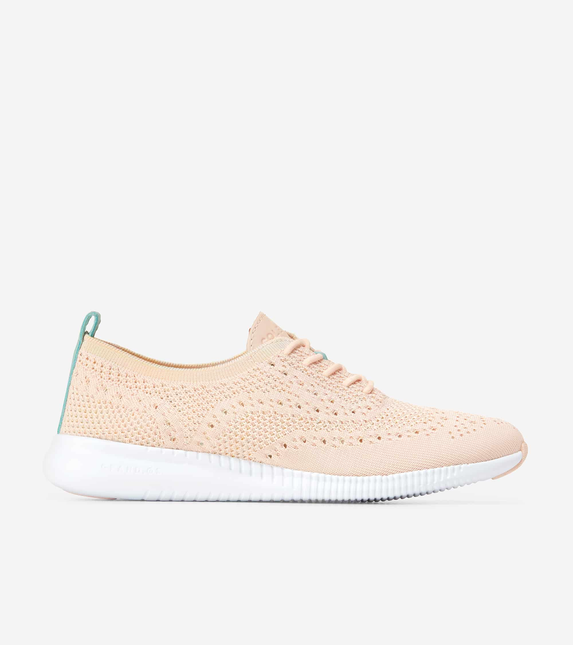 2.ZEROGRAND STITCHLITE OXFORD CLAY PINK & MULTI OMBRE / BLUE TINT PATENT / OPTIC WHITE MIDSOLE / CLAY PINK RBR PODS