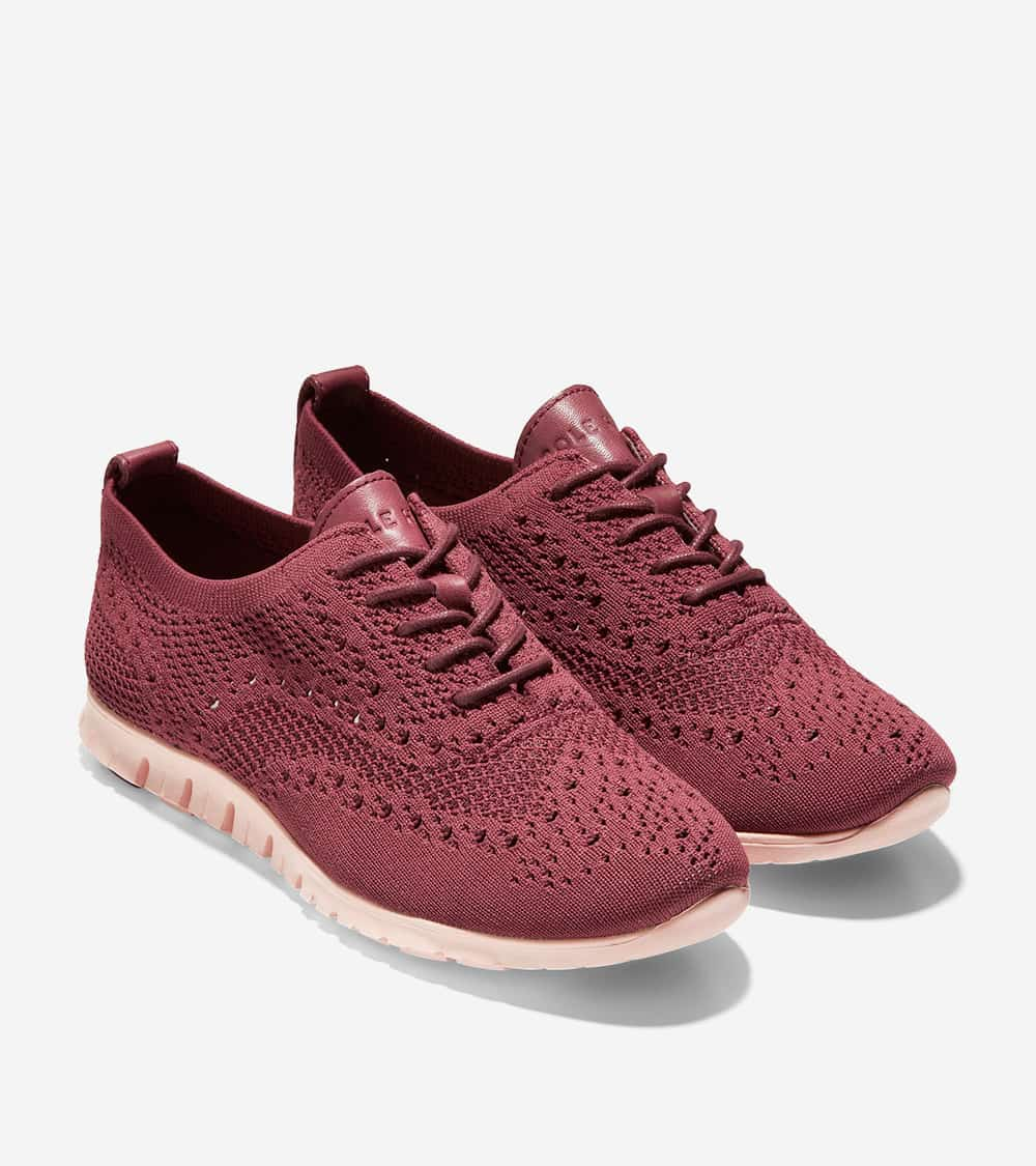 Cole Haan ZERØGRAND Stitchlite Oxford Chocolate Truffle Knit / Leather / Clay Pink Midsole