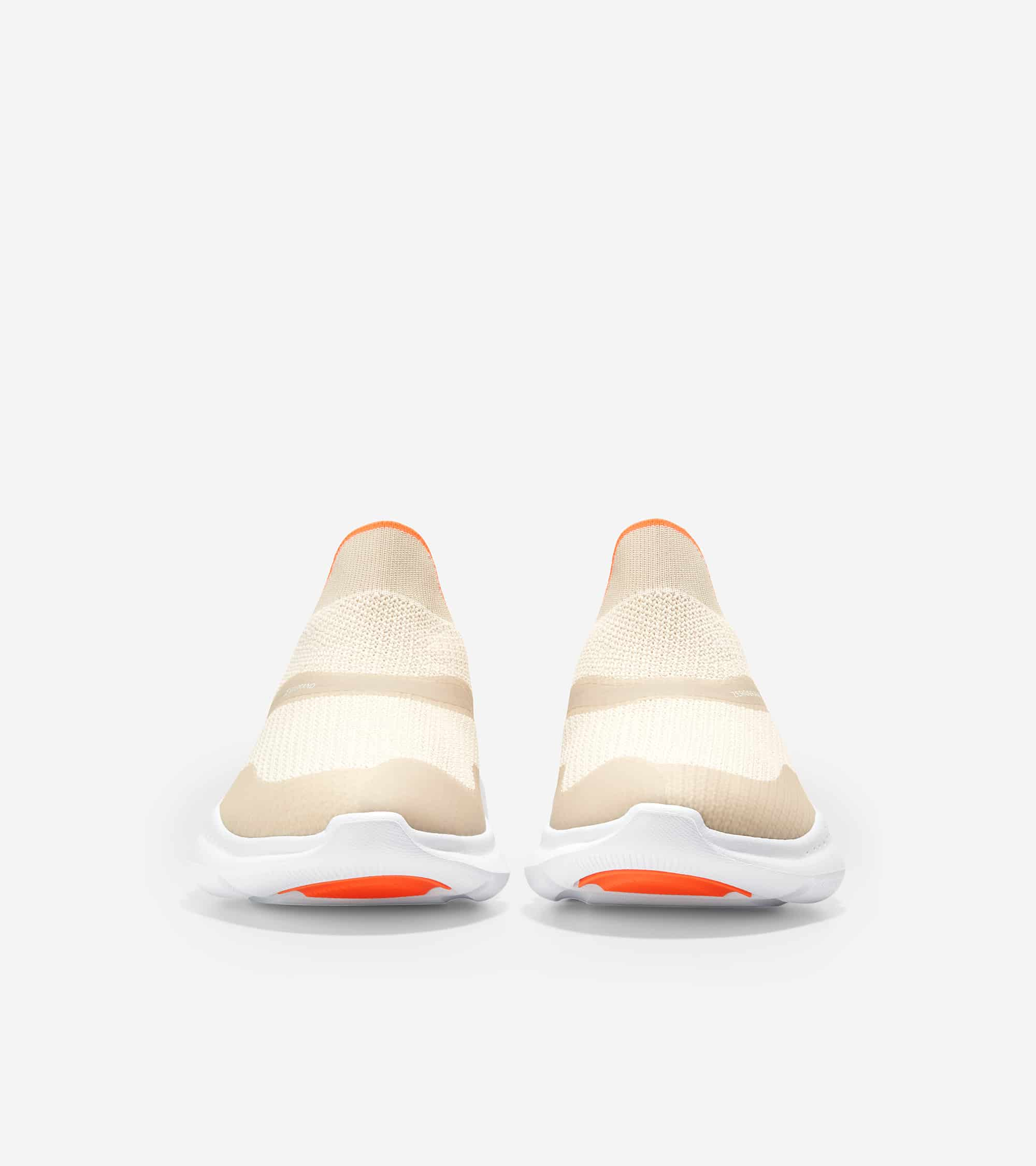 Cole Haan ZERØGRAND Radiant Slip On Sneaker Cement Tpu/ Cement & Opt White Knit/ Shocking Orange/ Optic White