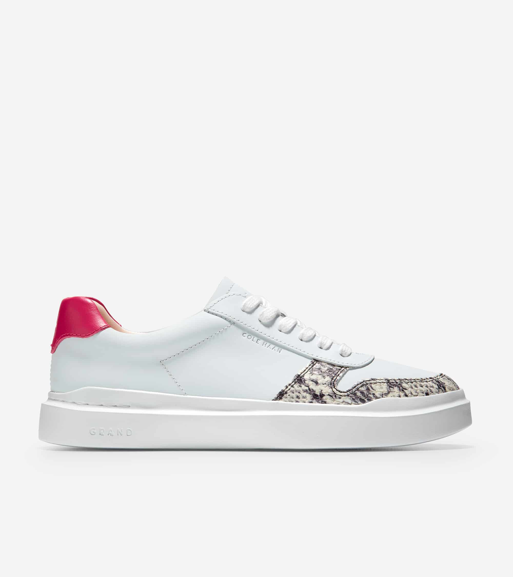 GRANDPRO RALLY COURT SNEAKER OPT WHITE/ COROLLA #3 NATURAL PRINT/ IVORY & BLACK P PLUS SUEDE/ CLAY PINK/ LOVE POTION/ WHT