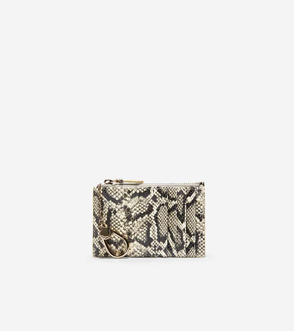 Cole Haan Card Case Zip Black/White Python