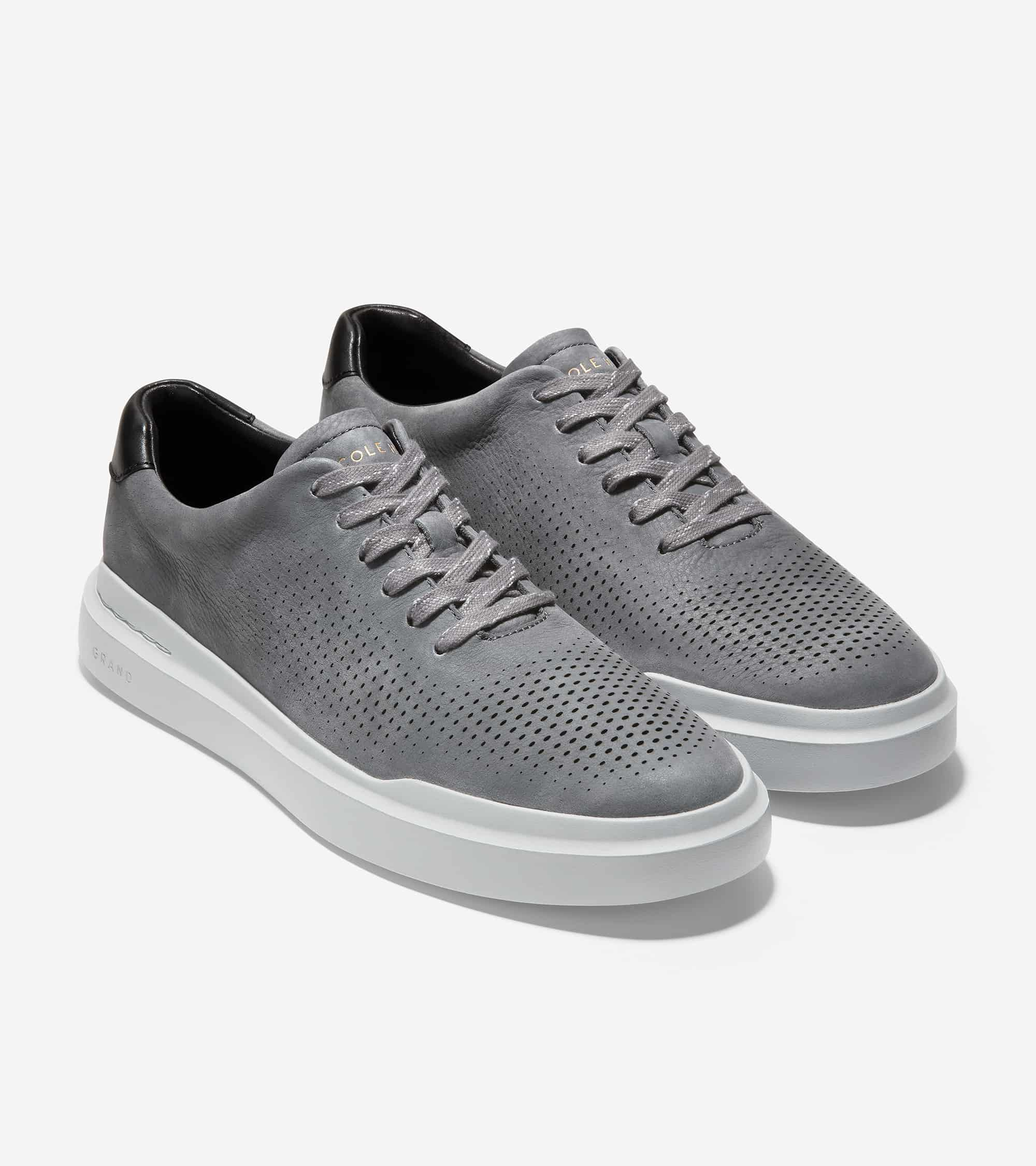 Cole Haan Grandprø Rally Laser Cut Sneaker Grey Pinstripe