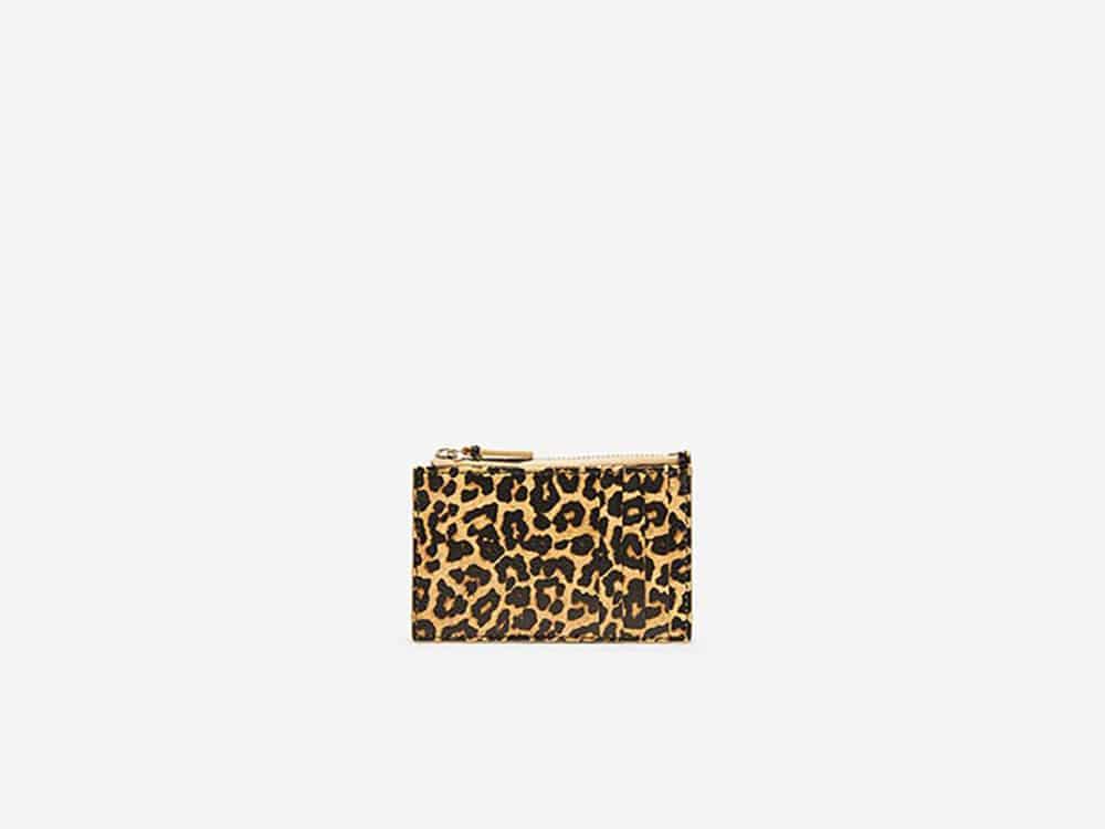 Cole Haan Card Case Zip Leopard
