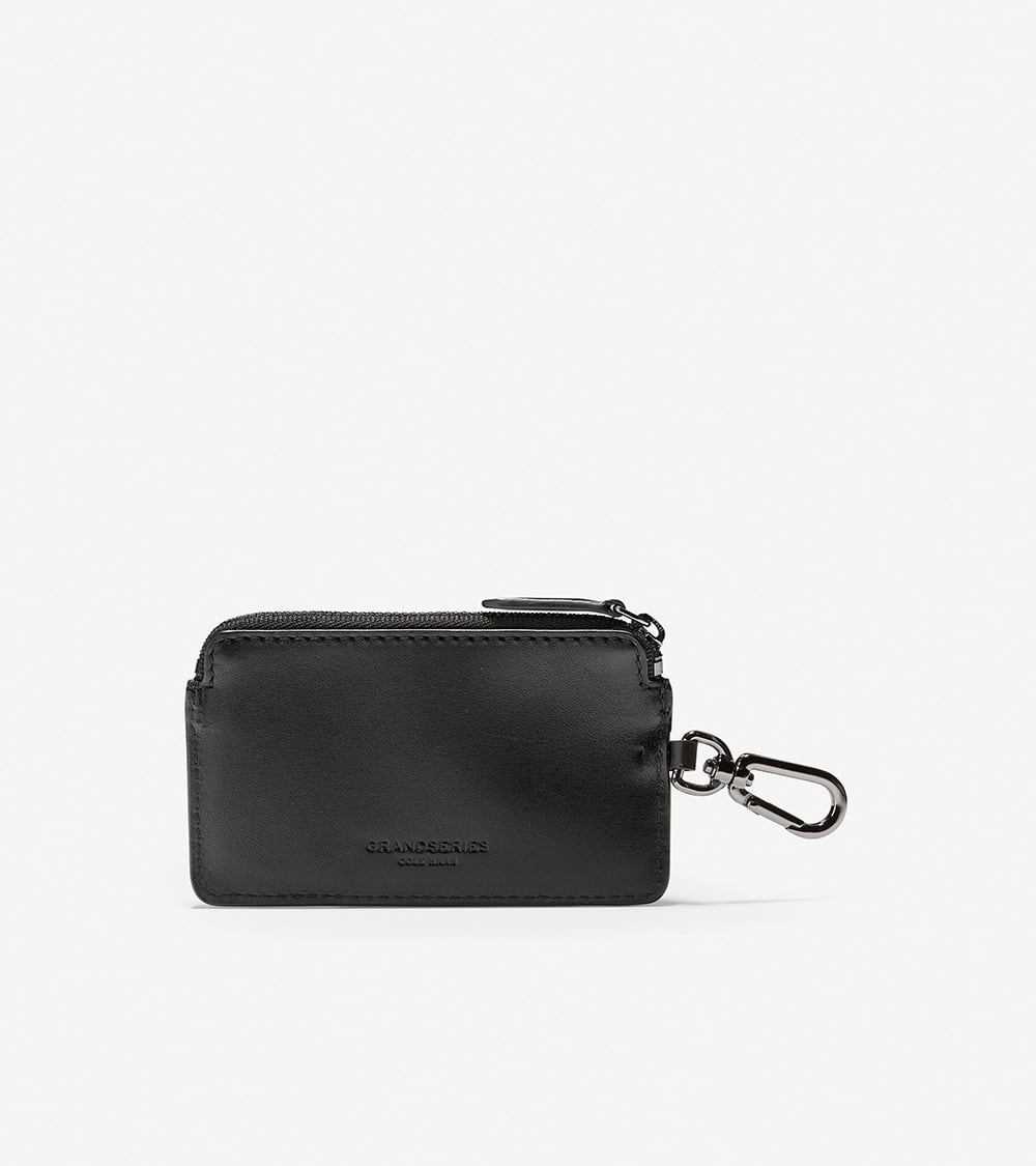 Cole Haan Smooth Leather Zip Card Case W/Key Ring Black