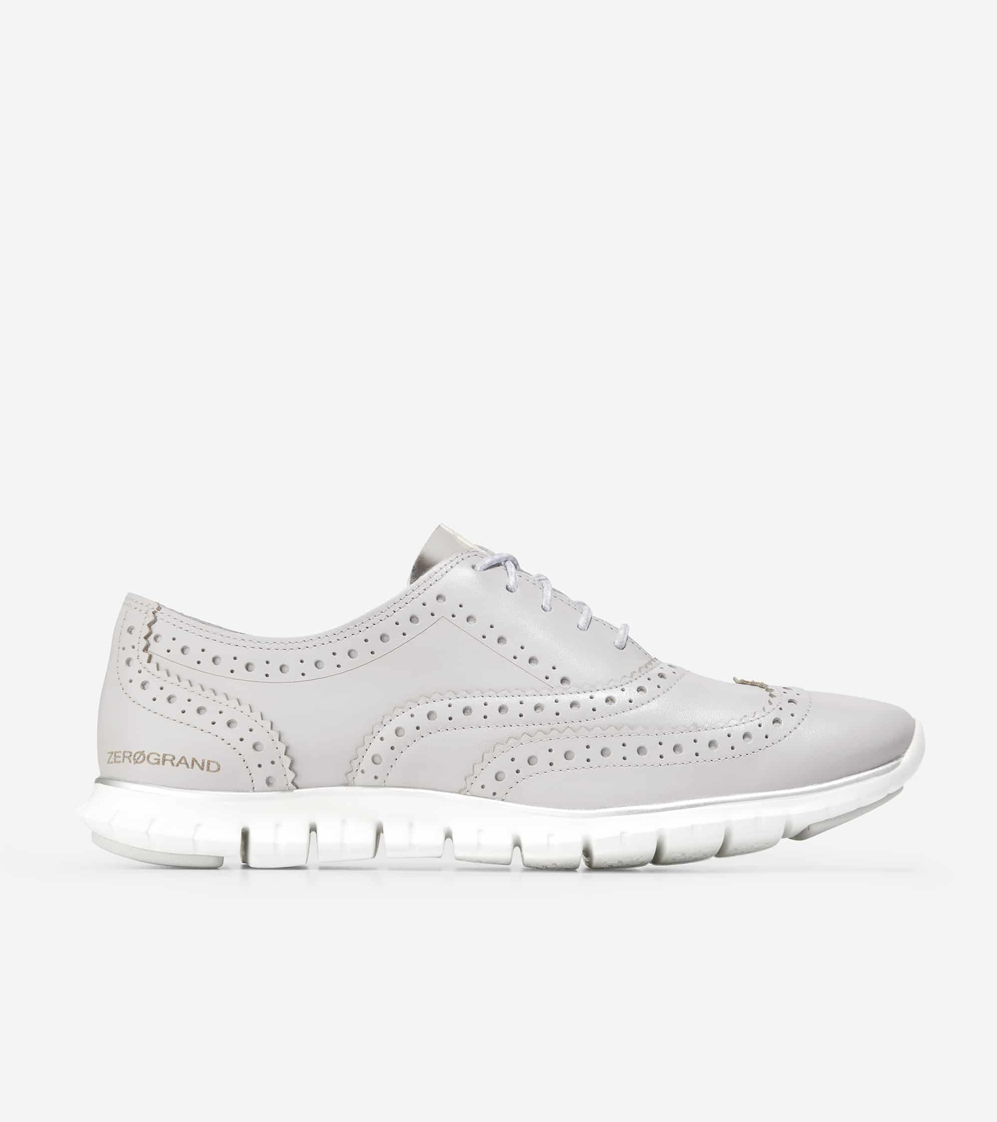 Cole Haan ZERØGRAND Wing Ox Closed Hole Ii Cool Gray Lthr / Ch Argento / Optic White Midsole / Cool Gray Rubber Pods