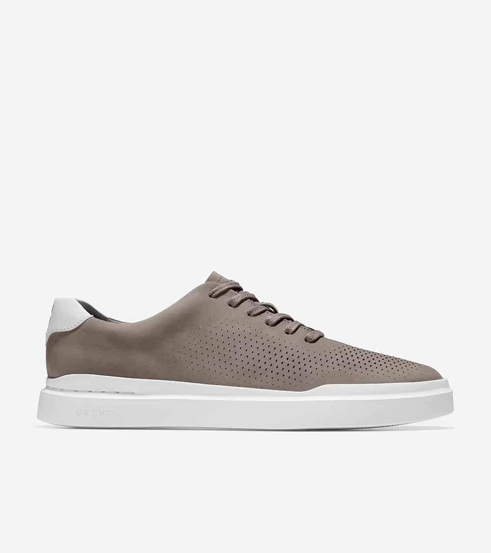 Cole Haan GrandPrø Rally Laser Cut Sneaker Ironstone  / Optic White