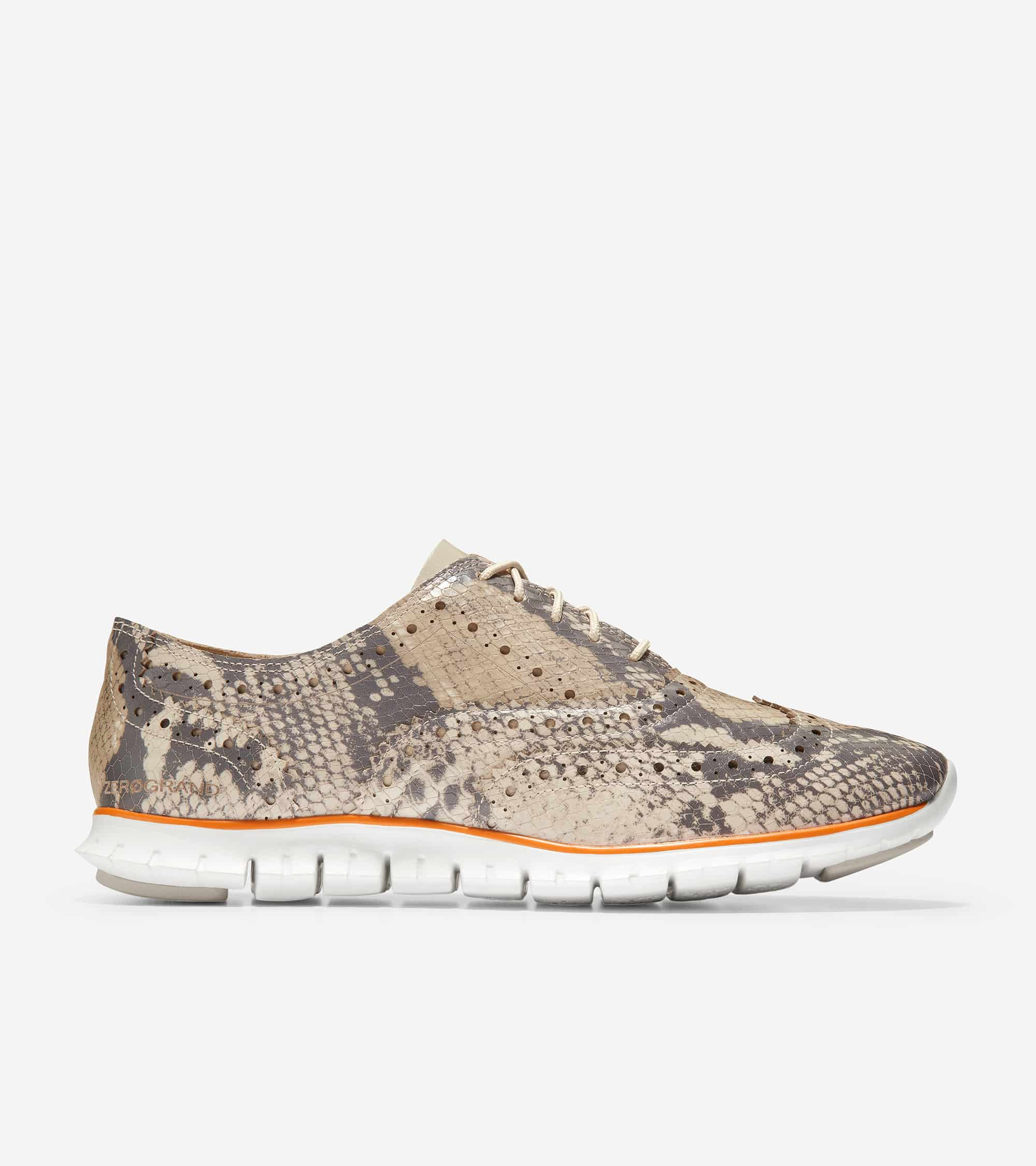 ZEROGRAND WING OX CLOSED HOLE II PYTHON PRINTED LEATHER / CEMENT LEATHER / OPTIC WHITE MIDSOLE / CEMENT RUBBER PODS