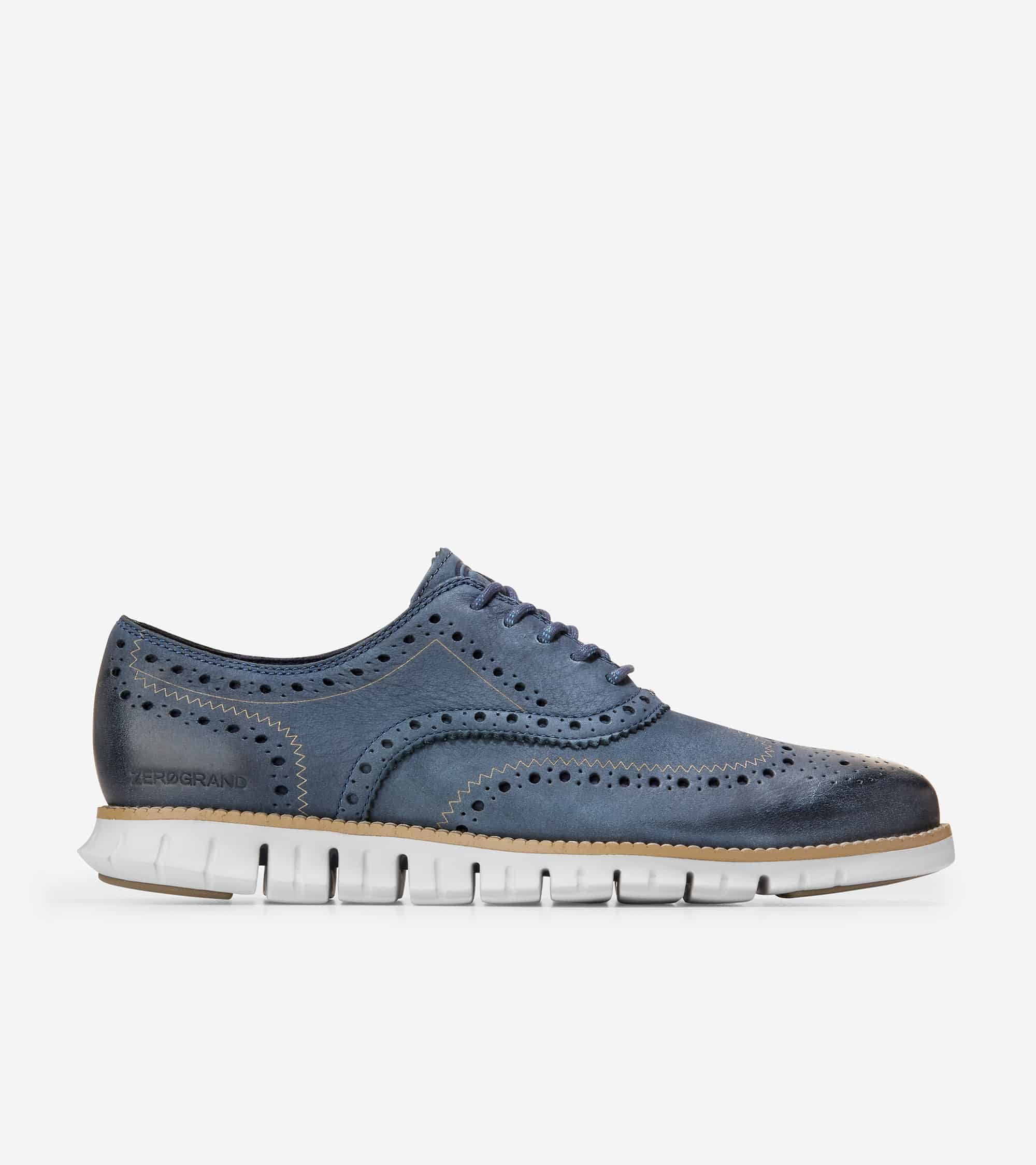 Cole Haan ZERØGRAND Wingtip Oxford Ombre Blue Nubuck/Cool Gray