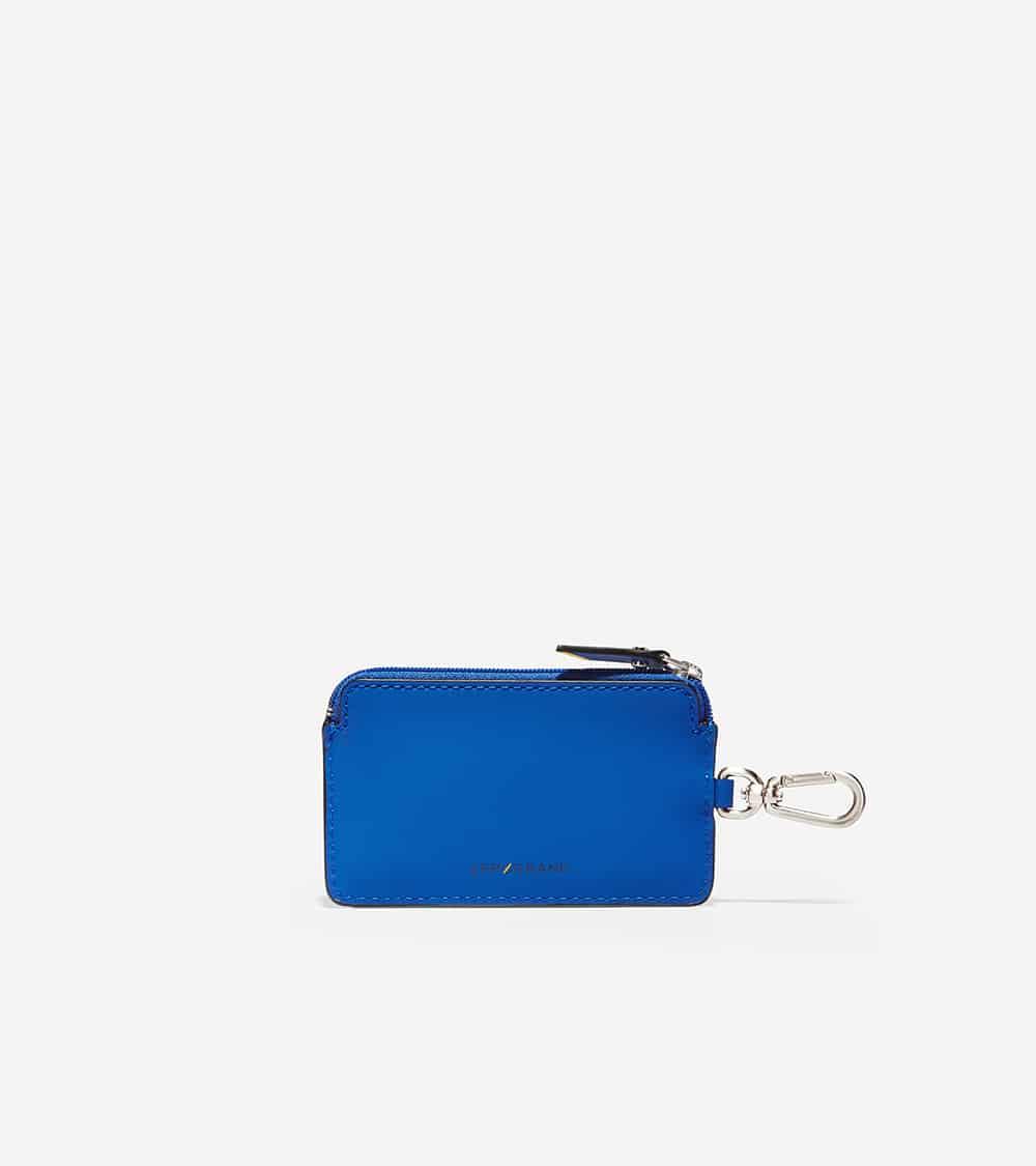 Cole Haan ZERØGRAND Zip Card Case W/Key Ring True Blue