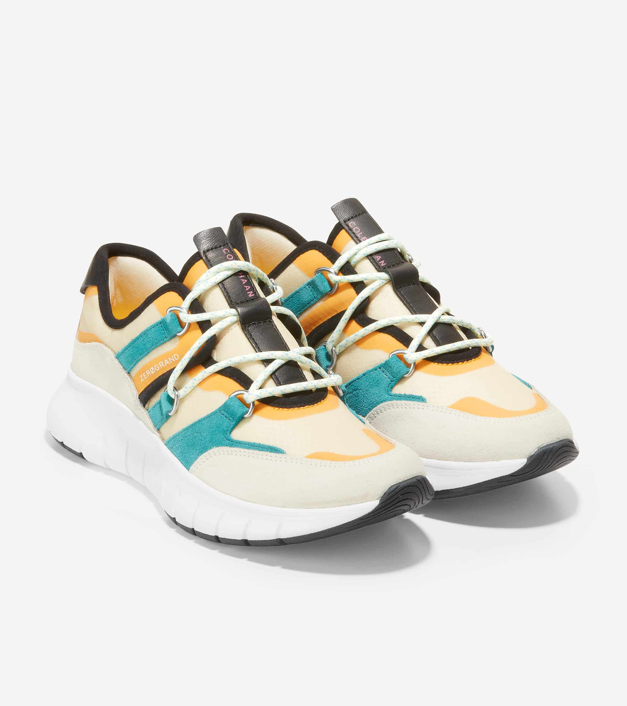 Cole Haan ZERØGRAND Flex Lace Up Sneaker Whitecap Grey Suede/ Deep Lake/ Cement Mesh/ Golden Rod / Ivory