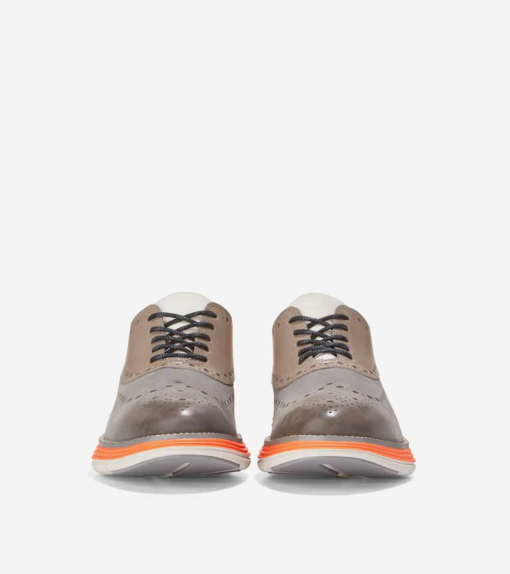 Cole Haan ØriginalGrand Ultra Wing Ox Ironstone Nubuck/Leather/Shocking Orange-Morning Fog